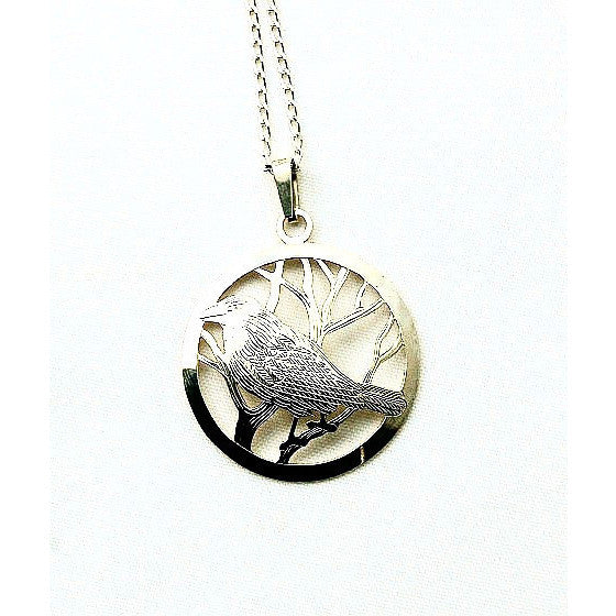 Sterling Silver Raven in Circle Pendant Necklace - Side Street Studio