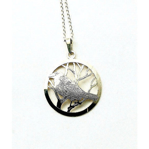 STERLING SILVER RAVEN IN CIRCLE PENDANT - Side Street Studio