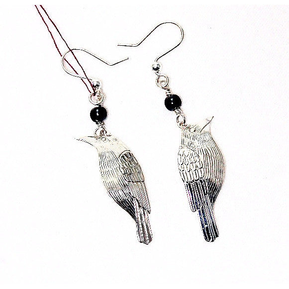STERLING SILVER RAVEN EARRINGS - Side Street Studio