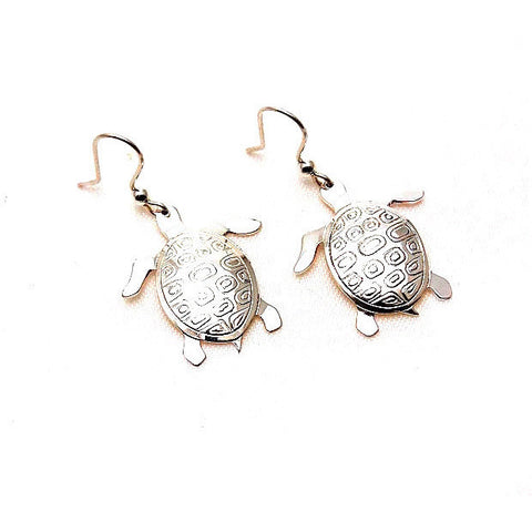 Sterling Silver Sea Turtle Earrings - Side Street Studio