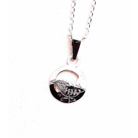 TINY STERLING SILVER WREN PENDANT AND CHAIN - Side Street Studio