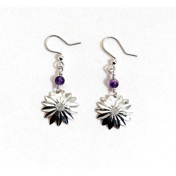STERLING SILVER ASTER EARRINGS WITH AMETHYST - Side Street Studio