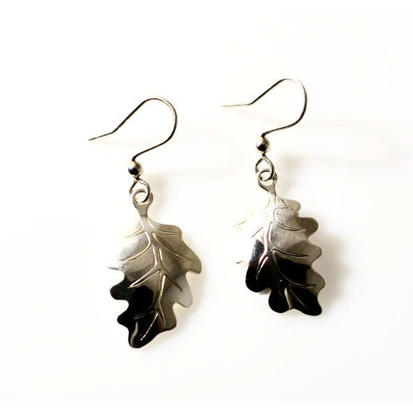 SILVER OAK LEAF EARRINGS - Side Street Studio