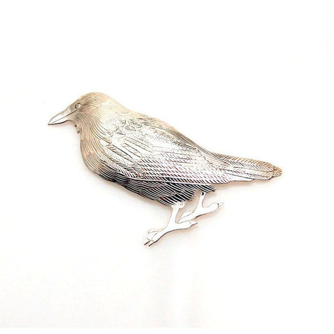 STERLING SILVER RAVEN BROOCH - Side Street Studio