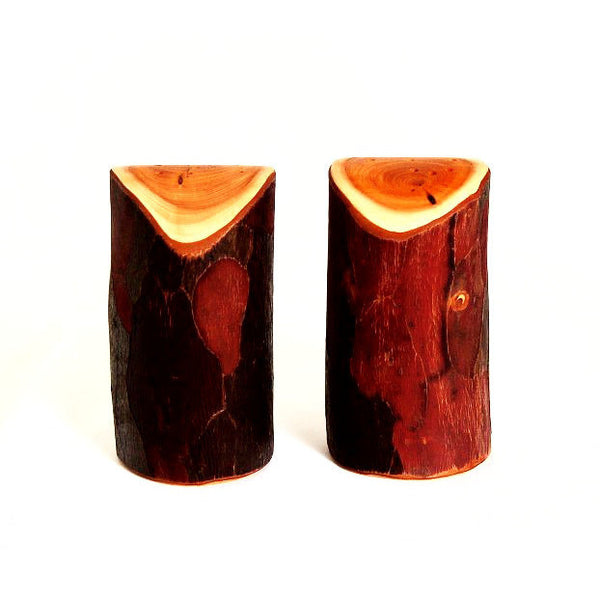 YEW WOOD NATURAL BARK SALT & PEPPER SHAKERS - Side Street Studio