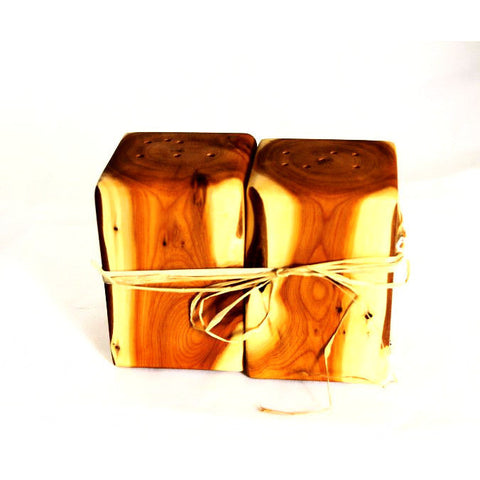 YEW WOOD SALT & PEPPER SHAKERS - Side Street Studio