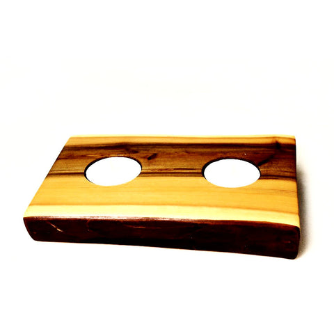 YEW WOOD DOUBLE TEA LIGHT HOLDER - Side Street Studio