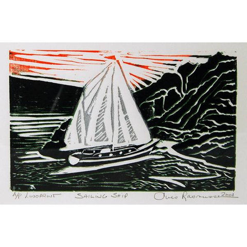SAILING SHIP LINO PRINT - Side Street Studio