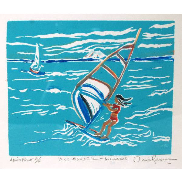 WIND SURFER AT WILLOWS BEACH LINO PRINT - Side Street Studio