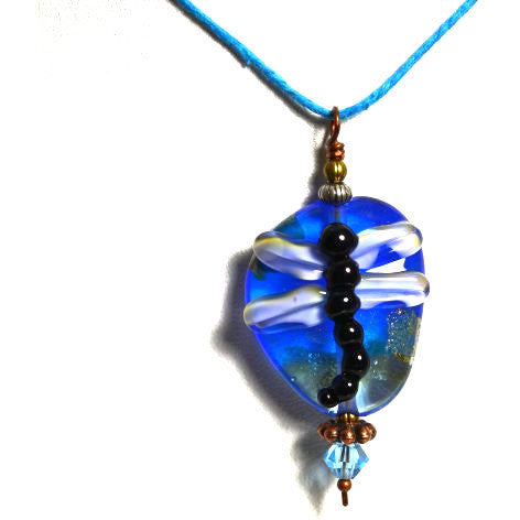 LAMPWORKED  GLASS DRAGONFLY PENDANT - Side Street Studio