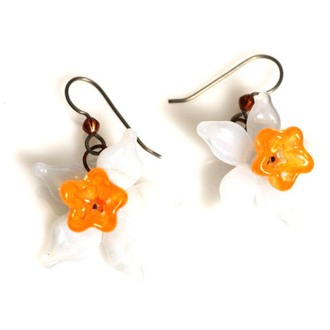 LAMPWORKED DAFFODIL FLOWER EARRINGS - Side Street Studio