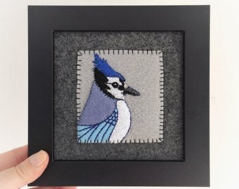 BLUE JAY - HAND EMBROIDERED