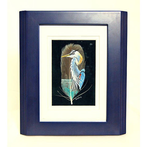 GREAT BLUE HERON ORIGINAL PAINTING ON FEATHER - Side Street Studio