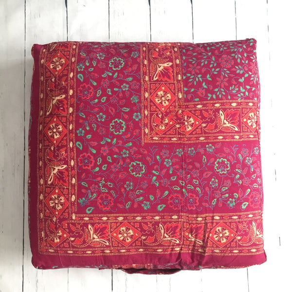 "24"" BURGUNDY BATIK SQUARE FLOOR POUF"