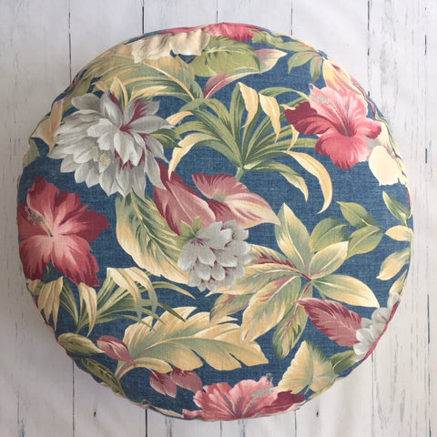 CHAMBRAY FLORAL ROUND FLOOR POUF