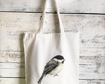 Chickadee Tote Bag by Emma Pyle Art