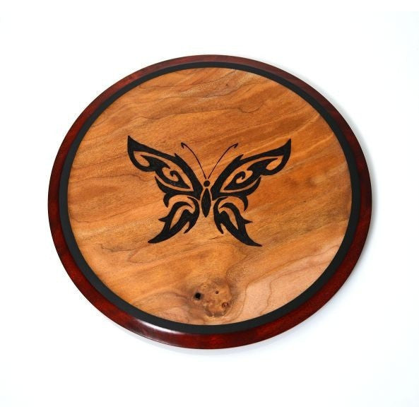 BUTTERFLY DESIGN MAPLE PLATE OR TRIVET