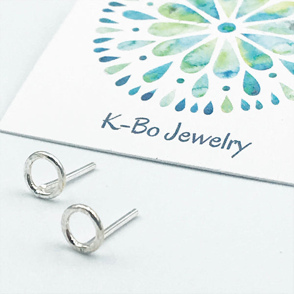 Sterling Silver Medium Circle Stud Earrings