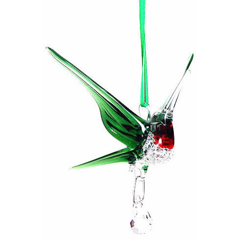 GLASS HUMMINGBIRD WITH SMALL CRYSTAL GREEN - Side Street Studio