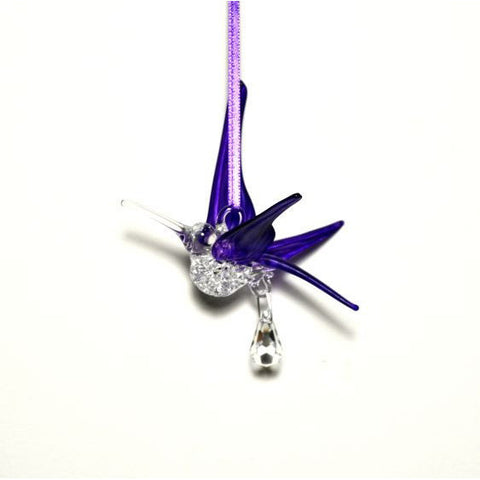 GLASS HUMMINGBIRD WITH SMALL CRYSTAL - PURPLE