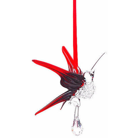 GLASS HUMMINGBIRD WITH SMALL CRYSTAL - RED - Side Street Studio