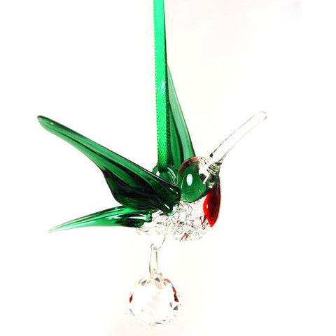 LARGE GREEN HUMMIMGBIRD AND CRYSTAL - Side Street Studio - 1