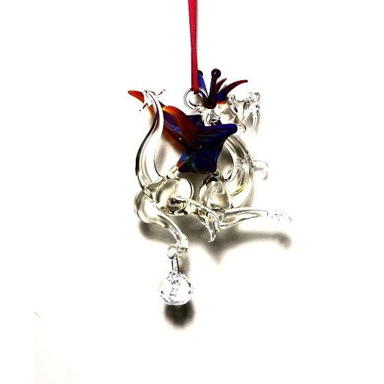 GLASS DRAGON WITH SMALL CRYSTAL HANGING