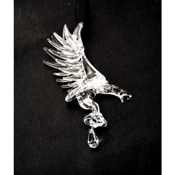 GLASS EAGLE WITH CRYSTAL