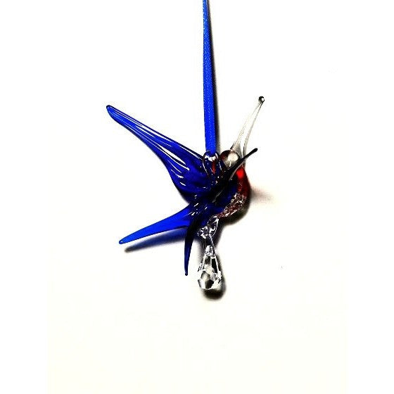 GLASS HUMMINGBIRD, SMALL CRYSTAL - BLUE AND RED