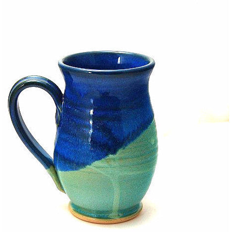 ROUND AQUA AND BLUE MUG - Side Street Studio
