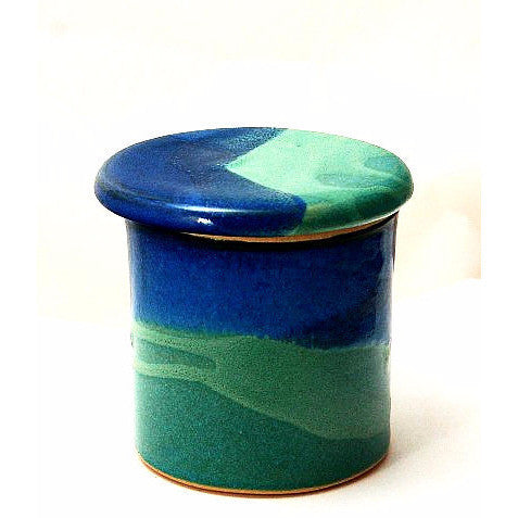 FRENCH BUTTER DISH - AQUA AND BLUE - Side Street Studio - 1