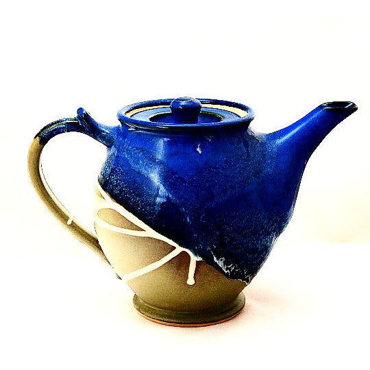 MEDIUM TEAPOT - SAGE & BLUE - Side Street Studio