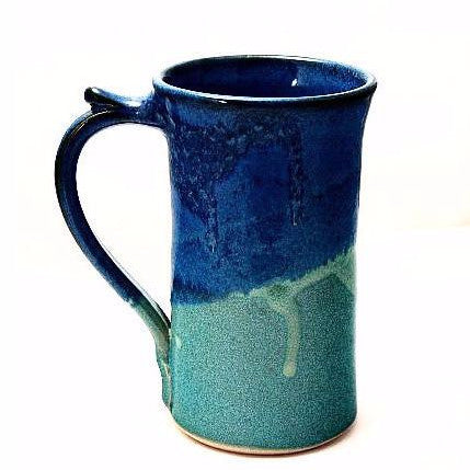 STRAIGHT AQUA AND BLUE MUG - Side Street Studio
