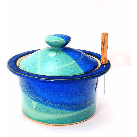 LIDDED PATE DISH AQUA & BLUE - Side Street Studio