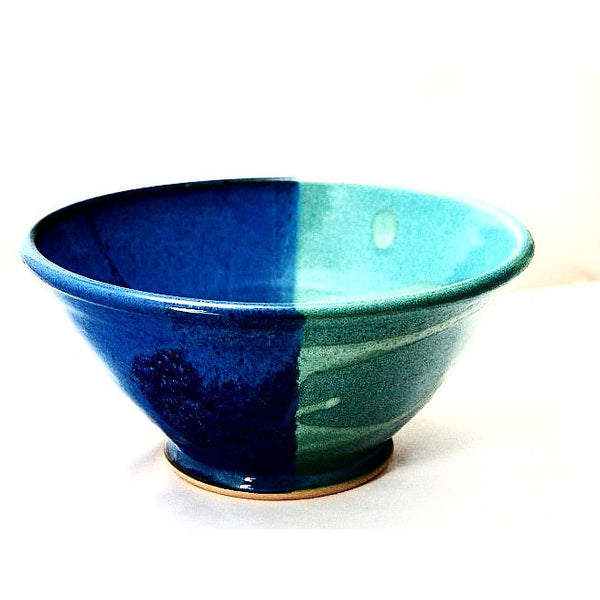 MEDIUM AQUA AND BLUE SERVING BOWL - Side Street Studio