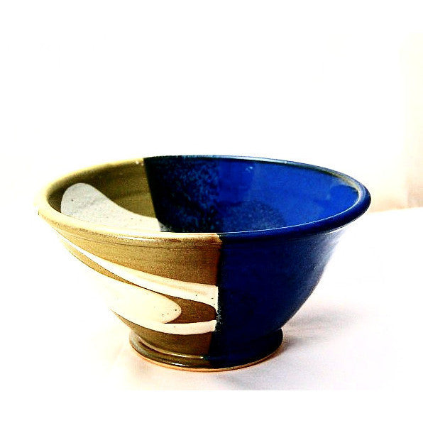 MEDIUM SAGE AND BLUE SERVING BOWL - Side Street Studio