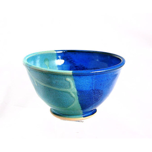 SMALL AQUA AND BLUE SERVING BOWL - Side Street Studio