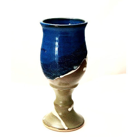 SAGE AND BLUE POTTERY GOBLET - Side Street Studio