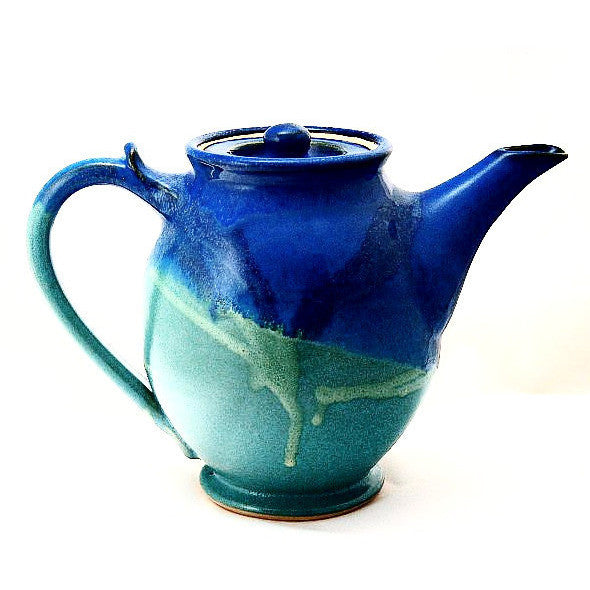 LARGE TEAPOT - AQUA AND BLUE - Side Street Studio