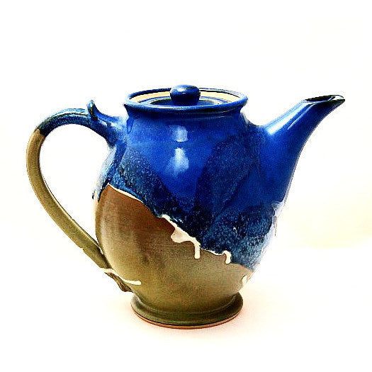 LARGE TEAPOT - SAGE AND BLUE - Side Street Studio