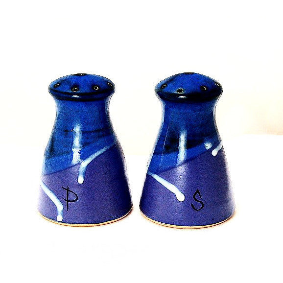 SALT AND  PEPPER SET  - PURPLE AND BLUE - Side Street Studio