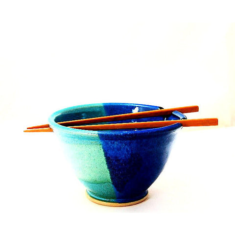 CHOPSTICK BOWL AQUA & BLUE - Side Street Studio