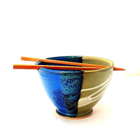 CHOPSTICK BOWL SAGE AND BLUE - Side Street Studio