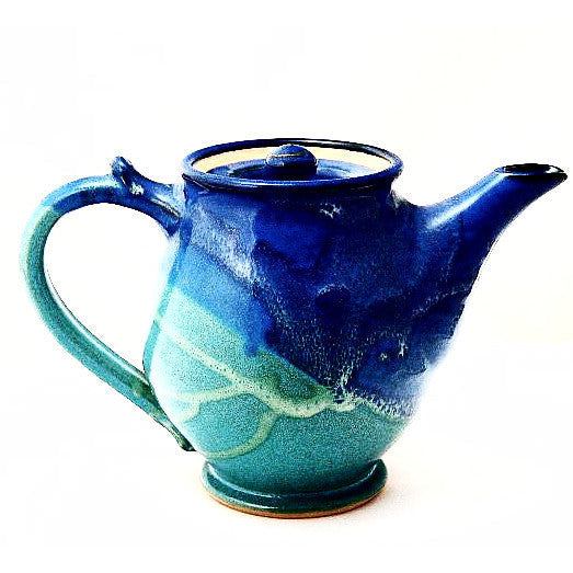 SMALL TEAPOT- AQUA AND BLUE - Side Street Studio