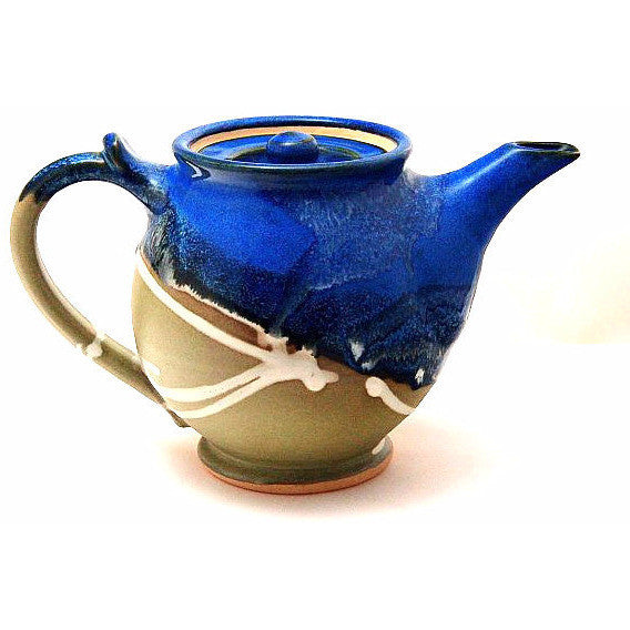 SMALL TEAPOT - SAGE AND BLUE - Side Street Studio