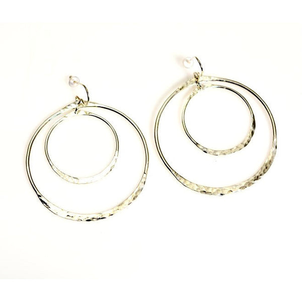 TEXTURED BIG DOUBLE HOOP SILVER EARRINGS - Side Street Studio