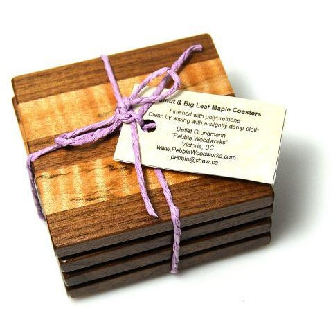 WALNUT AND BIG LEAF MAPLE COASTER SET 4