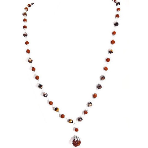 TIGER'S EYE, RUDRAKSHA & STERLING NECKLACE - Side Street Studio