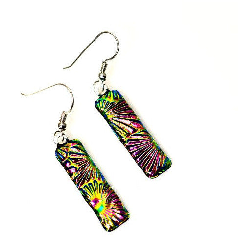STERLING SILVER DICHROIC GLASS EARRINGS - Side Street Studio
