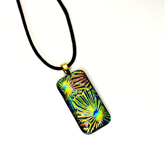 Dichroic Glass Pendant Necklace in Shades of Yellow and Turquoise - Side Street Studio